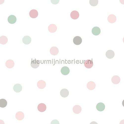 kleine stippen roze, groen en grijs behang 153-139040 Esta for Kids