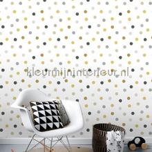 Kleine stippen goud, grijs en zwart papel pintado Esta for Kids Wallpaper creations