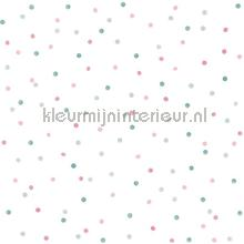 Kleine stippen roze, mintgroen en vergrijsd blauw papel pintado Esta for Kids Wallpaper creations