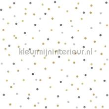 Kleine stippen goud, lichtgrijs en donkergrijs papel pintado Esta for Kids Wallpaper creations