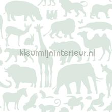 Dieren mintgroen papel pintado Esta for Kids Wallpaper creations