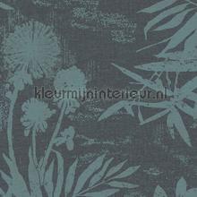 Pluizige bloemen en takken tapet Eijffinger Lino 379034