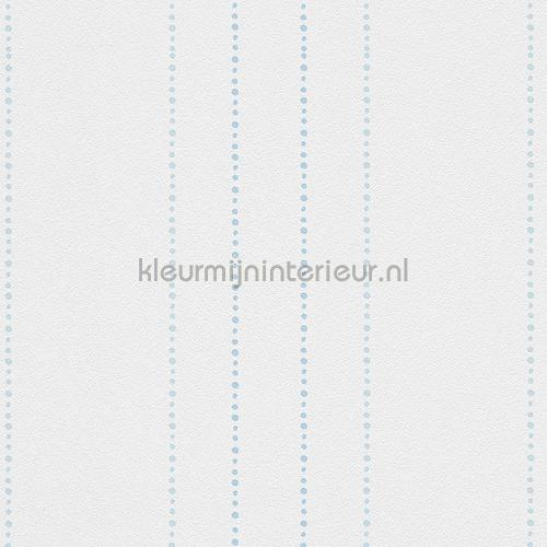 Stippelstreepjes wit pastelblauw behang 303116 aanbieding behang AS Creation