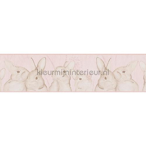 Konijntjes rand pastel roze behang 303302 aanbieding behang AS Creation