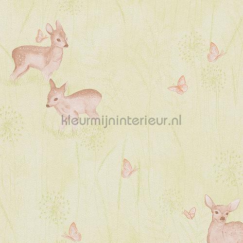 Hertjes en vlinders pastelgroen behang 303334 aanbieding behang AS Creation