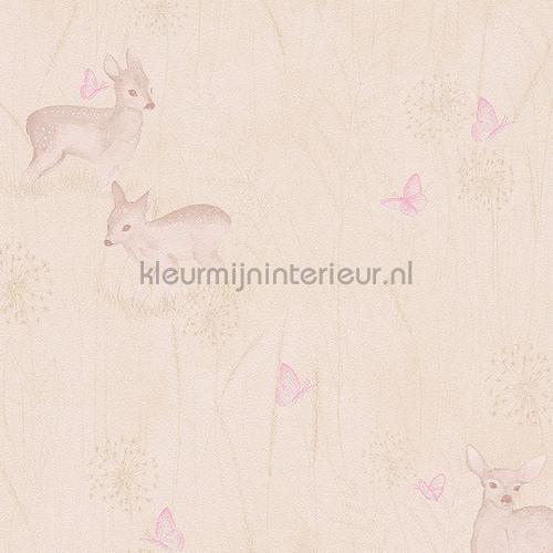 Hertjes en vlinders pastelbruin tapeten 303335 Collected AS Creation
