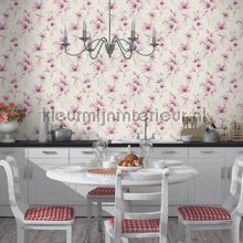 Lichte aquarel bloem behang Rasch Lucera 608472