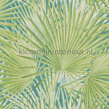 Botanical green behang Rasch tieners