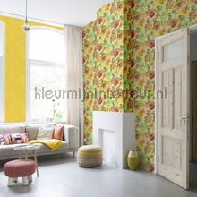Rustiek geel behang Rasch uni kleuren