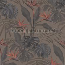 Exotische paradijsvogelbloem papel de parede Rasch Mandalay 529043