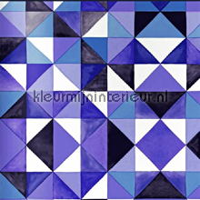 Painted ikat blue wallpaper papier peint Origin Mariska Meijers 339-346910