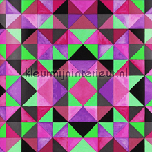Bold cubism pink green wallpaper papier peint Origin Mariska Meijers 339-346912