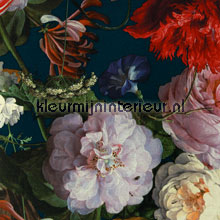 Stilleven met bloemendessin turquoise papier peint Eijffinger Masterpiece 358002