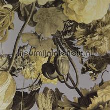 Stilleven met bloemendessin geelgrijs papier peint Eijffinger Masterpiece 358004