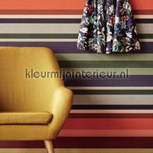 Textiellook streepdessin gedempte kleure behang Eijffinger strepen