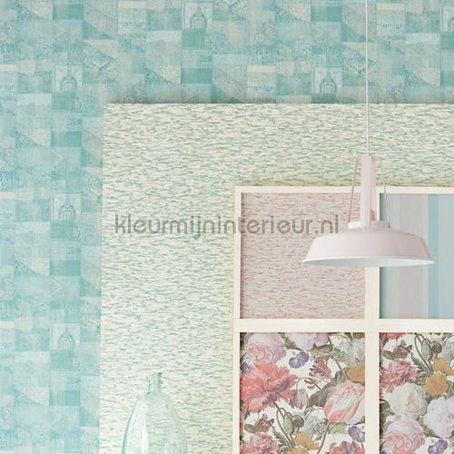 Kelim tapijtlook pastel turquoise behang 358033 Interieurvoorbeelden behang Eijffinger