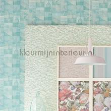 Kelim tapijtlook pastel turquoise behang Eijffinger Modern Abstract