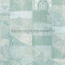Kelim tapijtlook pastel turquoise papier peint Eijffinger Masterpiece 358033