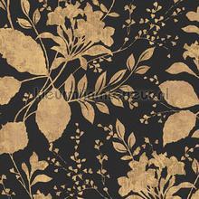Bloem en blad zwart goud tapeten AS Creation Memory 3 329863