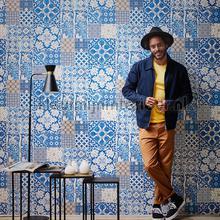 Tegel patchwork helder blauwtinten papier peint AS Creation spécial