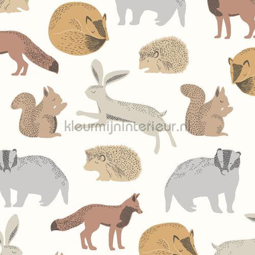 Das konijn eekhoorn egel motief papel pintado 399050 niñas Eijffinger