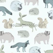 Das konijn eekhoorn egel motief papel pintado Eijffinger Mini Me 399051