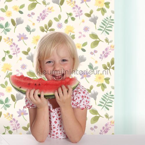 Takken en bloemen kleurrijk behang JW3706 Mix and Match Behang Expresse