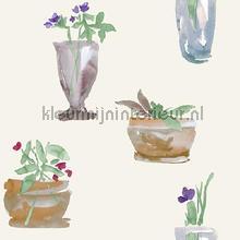 Vazen met bloemen aquarel wit papier peint Behang Expresse Mix and Match JW3702