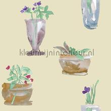 Vazen met bloemen aquarel beige papier peint Behang Expresse Mix and Match JW3703