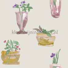 Vazen met bloemen aquareloff white behang Behang Expresse Mix and Match JW3704