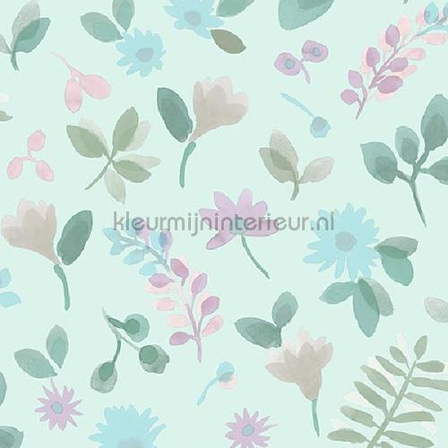 Takken en bloemen pastelblauw behang JW3708 Mix and Match Behang Expresse