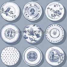 Poreleinen bordjes blauwgrijs behang Behang Expresse Mix and Match JW3715