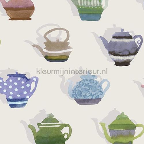 Pottenverzameling groen blauw behang JW3723 Mix and Match Behang Expresse