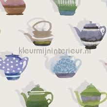 Pottenverzameling groen blauw behang Behang Expresse Mix and Match JW3723