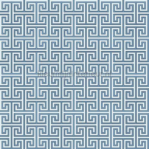 Grieks oneindig ritme blauw behang JW3757 Mix and Match Behang Expresse