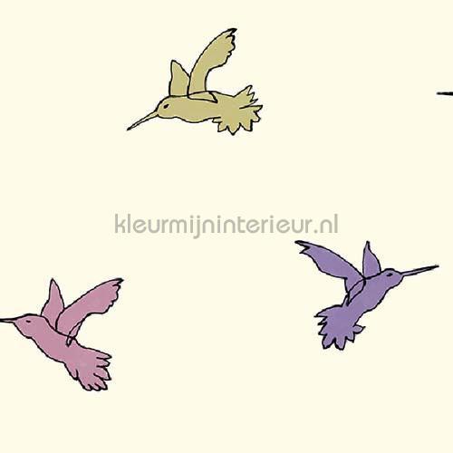 Vliegende kolibri krachtig pastel behang JW3769 Mix and Match Behang Expresse
