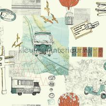 Backpacker - Teal-Orange behang Arthouse tieners
