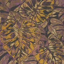 PANAMA FEUILLES JAUNE CURRY-PRUNE tapet Casadeco Panama PANA81072516