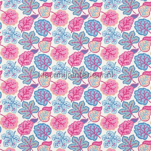 Jewel Leaves raspberry blue gordijnen 224623 Keuken Sanderson