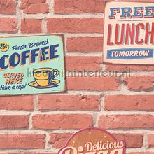 Lunchroom 3D relief sticker wallstickers AS Creation vindue stickers