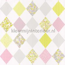 Patchwork ruiten lime rose behang Caselio meisjes