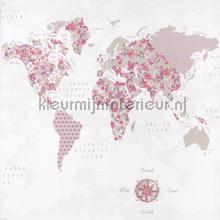 Wereldkaart behang roze tapet Caselio Pretty Lili prli69184016