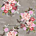Bloemen vintage - roze/rood tapet Esta home Pretty Nostalgic 138121