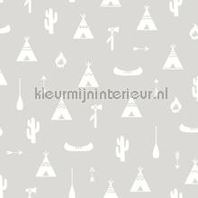 Wigwam grijs wallcovering Behang Expresse Puck and Rose 27116