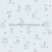 Dierenbos blauw wallcovering Behang Expresse Puck and Rose 27124