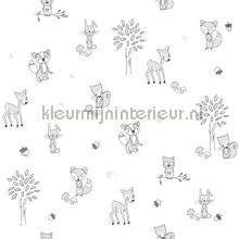 Dierenbos wit zwart wallcovering Behang Expresse Puck and Rose 27125