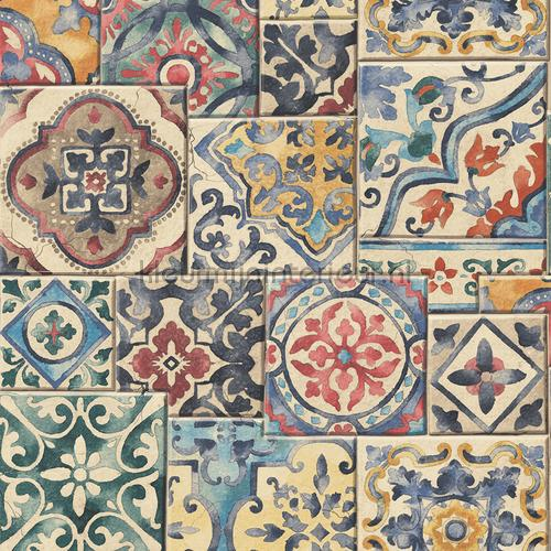 Old tiles mixed colours behang FD22301 Interieurvoorbeelden behang Dutch Wallcoverings