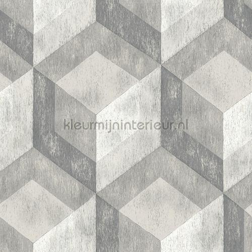 3d stacked cubics grey tapet FD22306 Reclaimed Dutch Wallcoverings