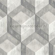 3d stacked cubics grey behang Dutch Wallcoverings Reclaimed FD22306