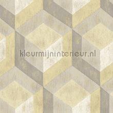 3d stacked cubics grey yellow behang FD22309 Interieurvoorbeelden behang Dutch Wallcoverings